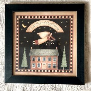 Wall hanging green frame. God bless this House